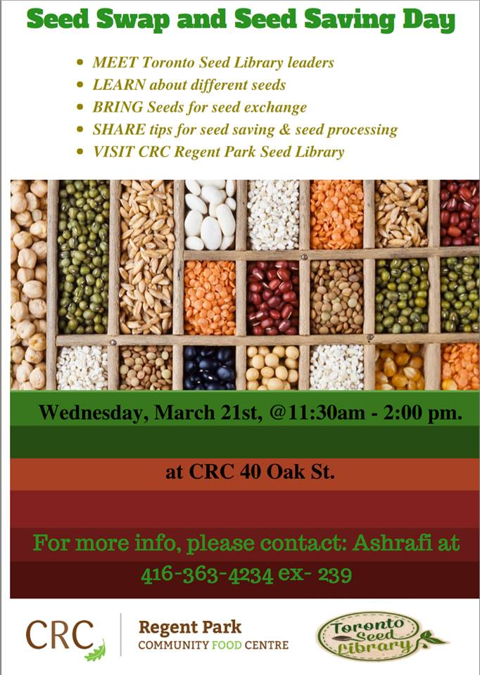 Seed Swap and Seed Saving Day - Events - Toronto Urban Growers